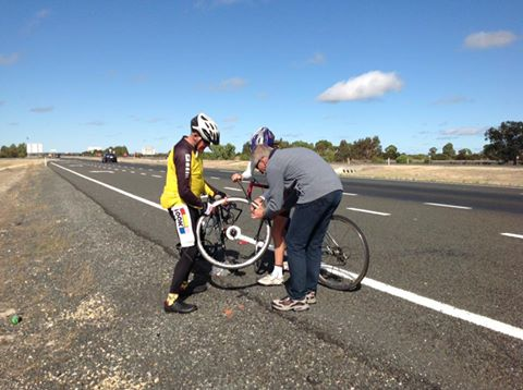 Margaret's ride for Darren's Ride - Progress report 0940 - running repairs en route. All fixed and back on the road...